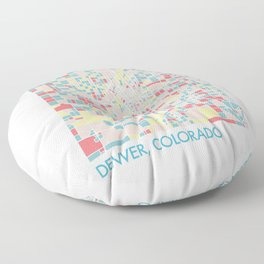 Denver Colorado Colorful Mosaic Map Floor Pillow