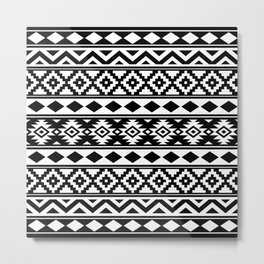 Aztec Essence IIIb Ptn White & Black Metal Print