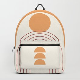 Geometric Lines in Terracotta Gold Beige 6 (Sun and Rainbow) Backpack