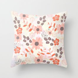 Pretty Pink and Orange Flowers Throw Pillow