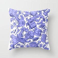 Retro Gamer - Blue Throw Pillow