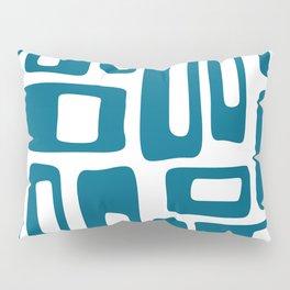 Retro Mid Century Modern Abstract Pattern 336 Peacock Blue Pillow Sham