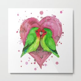 Peach faced lovebirds in love Metal Print