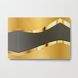 Carbon and Gold Metal Print