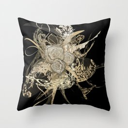 50 Shades of lace Gold Black Throw Pillow
