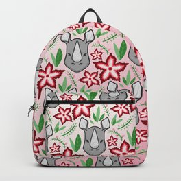 Rhino With Flowers Backpack