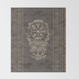Vegvisir and Tree of life  - Yggdrasil Throw Blanket