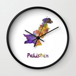 Pakistan in watercolor Wall Clock