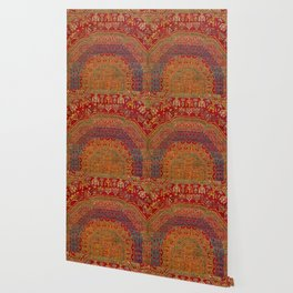 Bohemian Medallion VI // 15th Century Old Distressed Red Green Blue Coloful Ornate Rug Pattern Wallpaper