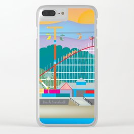 Santa Cruz, California - Skyline Illustration by Loose Petals Clear iPhone Case