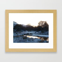 Snow on the hills Framed Art Print