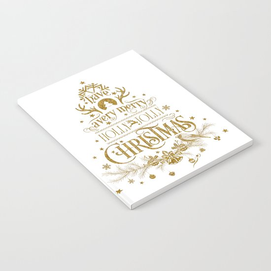 Holly Jolly Christmas- Gold Glitter Typography Notebook