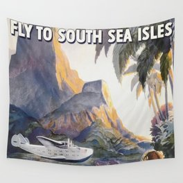 Fly to South Sea Isles, American Airways Vintage Travel Poster  Wall Tapestry