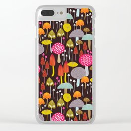 dark toadstools and mushrooms Clear iPhone Case