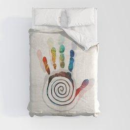 The Healer's Hand Native American Art Symbol by Sharon Cummings Comforters