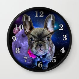 Dog French Bulldog and Galaxy Wall Clock