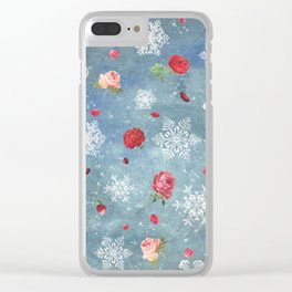 Snow and Roses Clear iPhone Case