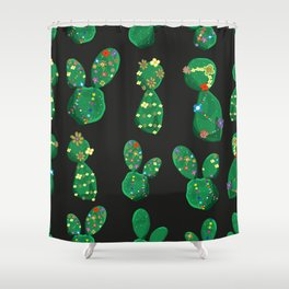 Cactus With Colorful Hawaiian Flower Shower Curtain