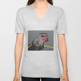 red ford hot rod painting Unisex V-Neck