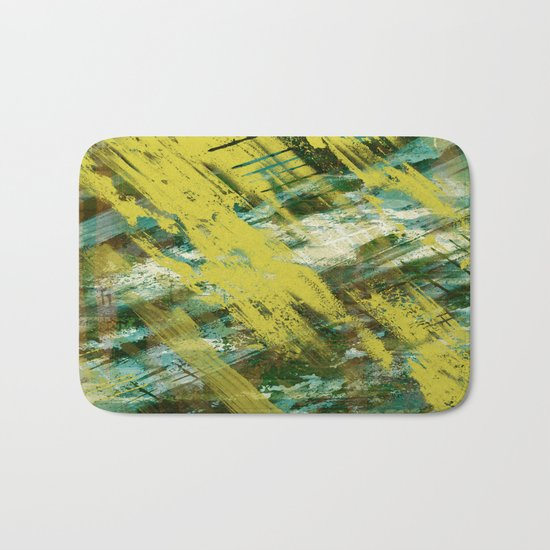 Hidden Meaning - Abstract, oil painting in yellow, green, blue, white and brown Bath Mat