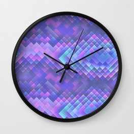Indigo Violet Bright Squares Pattern Wall Clock