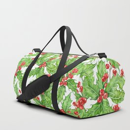Holly berry watercolor Christmas pattern Duffle Bag