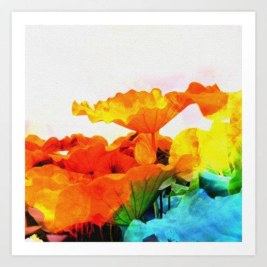 Enchanted Lotus Leaves Art Print