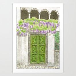 Green Door and Wisteria Art Print