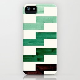 Teal Aquamarine Green Watercolor Gouache Geometric Pattern Zig Zag Lightning Bolt Shaped Mid Century iPhone Case