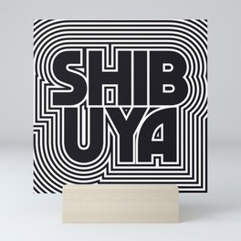 Tokyo Shibuya Black & White Outline Text Pattern Mini Art Print