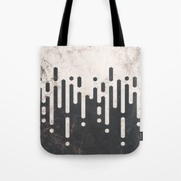 Marble and Geometric Diamond Drips, in Charcoal Grey and Light Beige Tote Bag