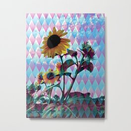 Sunflowers and a bee Metal Print