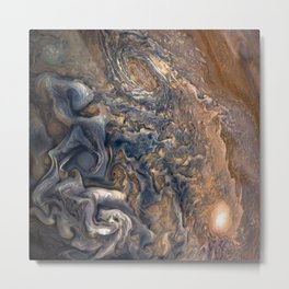 Swirling Clouds of Planet Jupiter Close Up from Juno Cam Metal Print