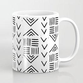mudcloth 7 minimal textured black and white pattern home decor minimalist Coffee Mug