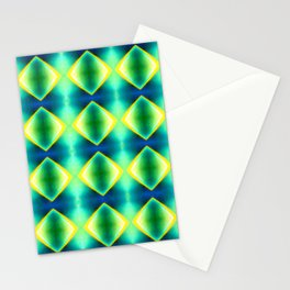 Green Yellow Geometric Metallic Diamond Pattern Stationery Cards