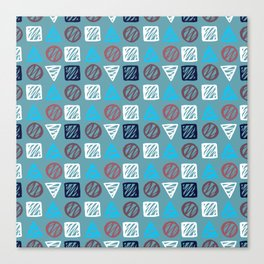 Modern abstract hand painted blue white geometrical pattern Canvas Print