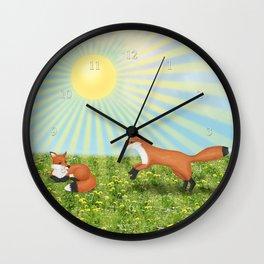 sunshine foxes Wall Clock