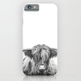 Highland Cow, Black and White Art, Animal Wall Art iPhone Case