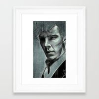 benedict cumberbatch Framed Art Prints featuring Benedict Cumberbatch by Schwebewesen • Romina Lutz
