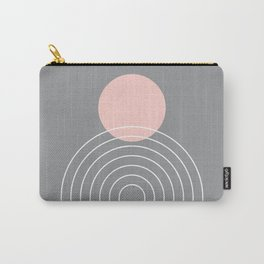 Mid Century Modern Geometric 76 in Ultimate Grey and Rose Gold (Sun and Rainbow abstraction) Carry-All Pouch
