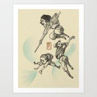 airbender Art Prints featuring Airbender Kids by OliLai