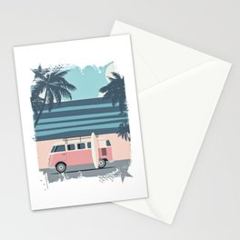 Surfer Graphic Beach Palm-Tree Camper-Van Art Stationery Cards