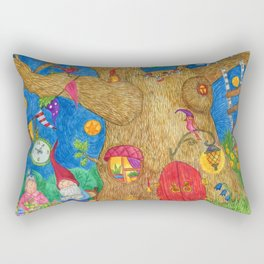A family of gnomes grandparents drink tea in the summer in the garden. Rectangular Pillow