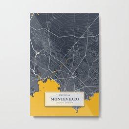 Montevideo Uruguay City Map with GPS Coordinates Metal Print