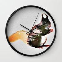 squirrel Wall Clocks featuring squirrel by KrisLeov