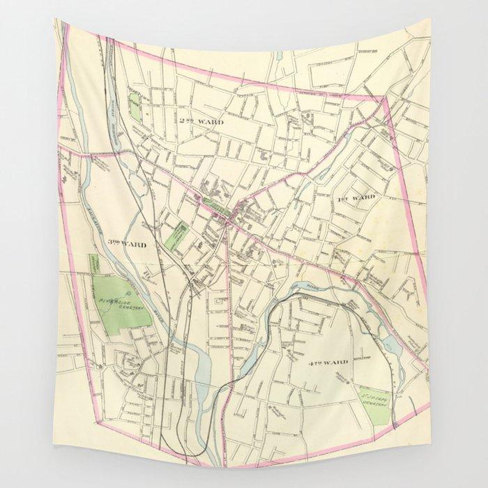 Vintage Map of Waterbury CT (1893) Wall Tapestry by bravuramedia ...