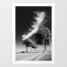 Cloud trees man Art Print