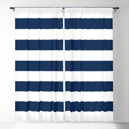 Slate Blue And White Stripes Navy Nautical Pattern Blackout Curtain
