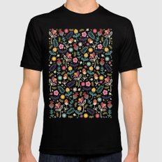 Ditsy Flowers Mens Fitted Tee LARGE Black