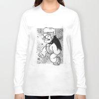 popeye Long Sleeve T-shirts featuring POPEYE by CHRIS MASON
